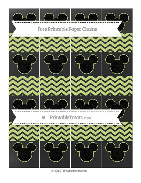 Free Pastel Lime Green Chevron Chalk Style Mickey Mouse Paper Chains