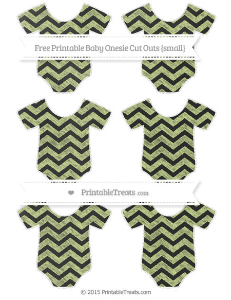 Free Pastel Lime Green Chevron Chalk Style Small Baby Onesie Cut Outs