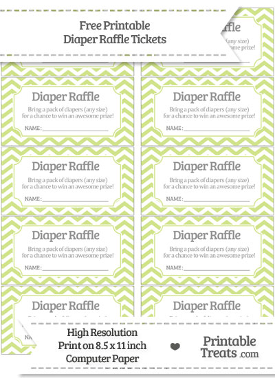 Free Pastel Lime Green Chevron Diaper Raffle Tickets