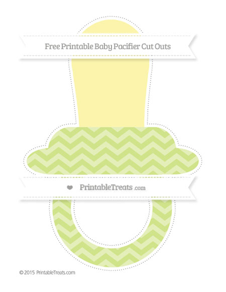 Free Pastel Lime Green Chevron Extra Large Baby Pacifier Cut Outs