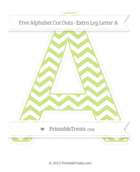 Free Pastel Lime Green Chevron Extra Large Capital Letter A Cut Outs