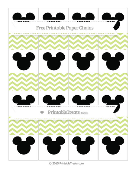 Free Pastel Lime Green Chevron Mickey Mouse Paper Chains