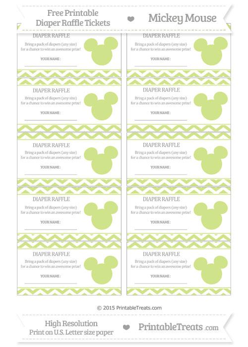 Free Pastel Lime Green Chevron Mickey Mouse Theme Diaper Raffle Tickets