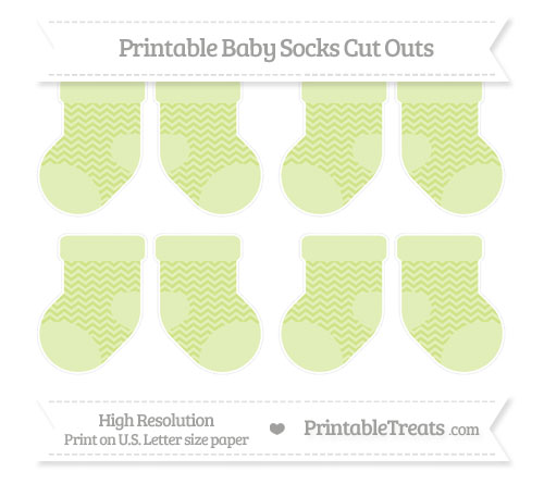 Free Pastel Lime Green Chevron Small Baby Socks Cut Outs