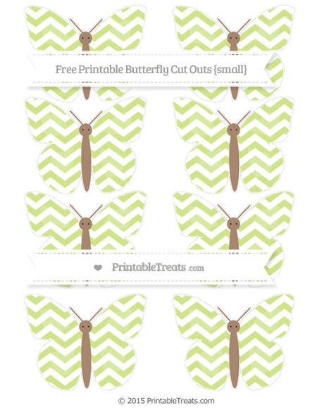 Free Pastel Lime Green Chevron Small Butterfly Cut Outs