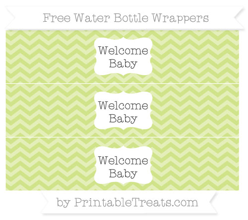 Free Pastel Lime Green Chevron Welcome Baby Water Bottle Wrappers