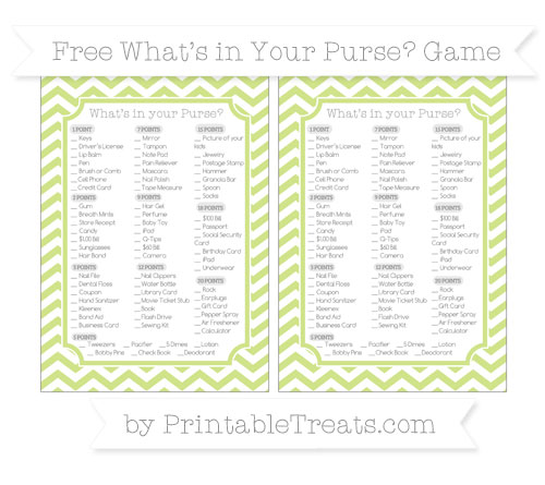 Free Pastel Lime Green Chevron What's in Your Purse Baby Shower Game