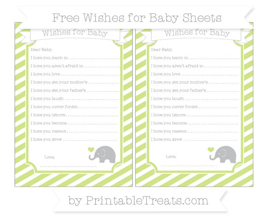 Free Pastel Lime Green Diagonal Striped Baby Elephant Wishes for Baby Sheets