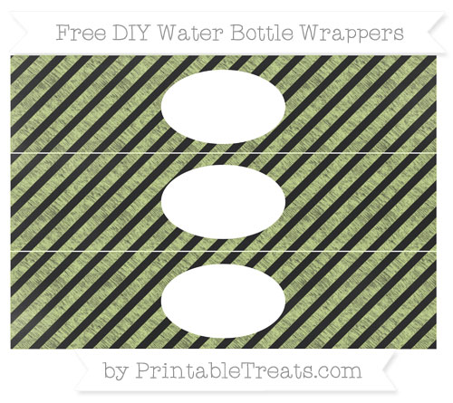 Free Pastel Lime Green Diagonal Striped Chalk Style DIY Water Bottle Wrappers