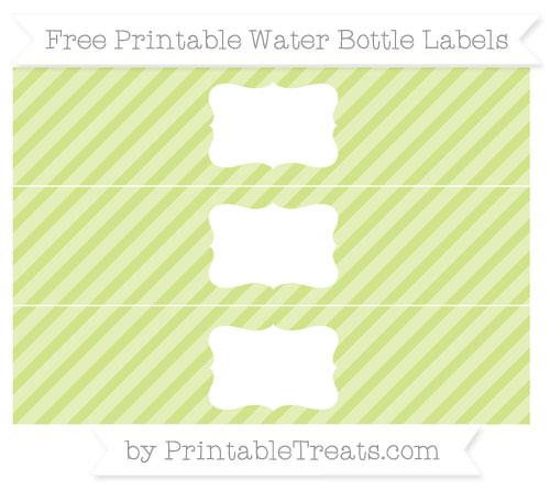 Free Pastel Lime Green Diagonal Striped Water Bottle Labels