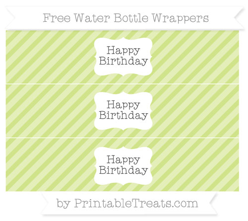 Free Pastel Lime Green Diagonal Striped Happy Birhtday Water Bottle Wrappers