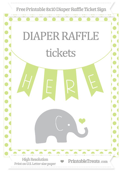 Free Pastel Lime Green Dotted Baby Elephant 8x10 Diaper Raffle Ticket Sign