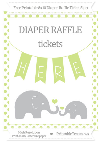 Free Pastel Lime Green Dotted Elephant 8x10 Diaper Raffle Ticket Sign