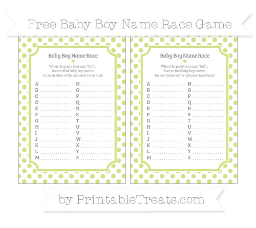 Free Pastel Lime Green Dotted Pattern Baby Boy Name Race Game