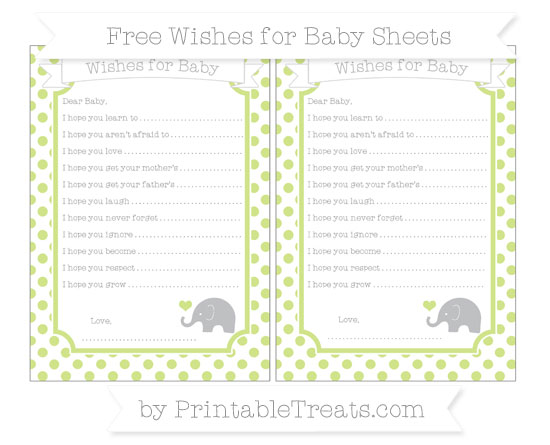 Free Pastel Lime Green Dotted Pattern Baby Elephant Wishes for Baby Sheets