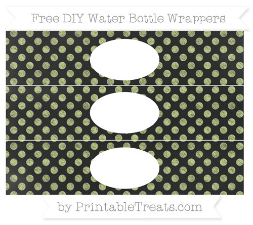 Free Pastel Lime Green Dotted Pattern Chalk Style DIY Water Bottle Wrappers