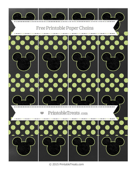 Free Pastel Lime Green Dotted Pattern Chalk Style Mickey Mouse Paper Chains