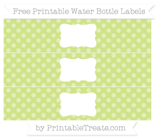Free Pastel Lime Green Dotted Pattern Water Bottle Labels