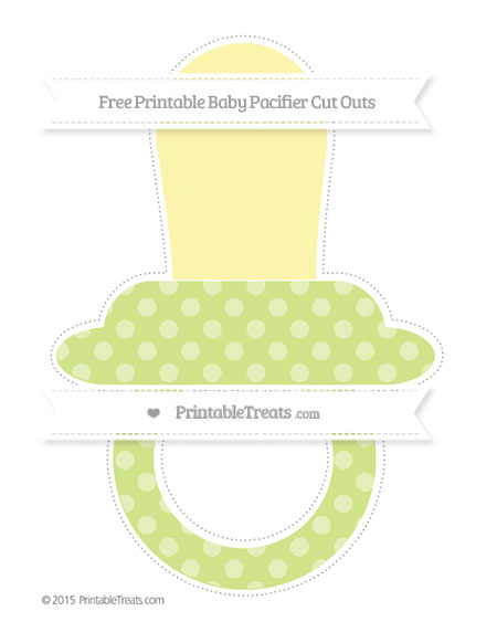 Free Pastel Lime Green Dotted Pattern Extra Large Baby Pacifier Cut Outs