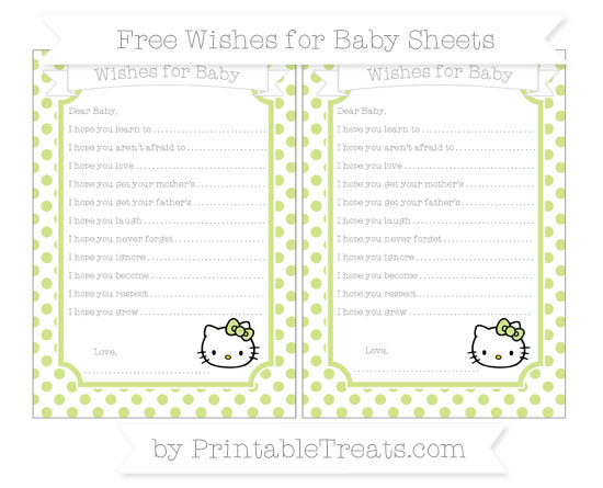 Free Pastel Lime Green Dotted Pattern Hello Kitty Wishes for Baby Sheets