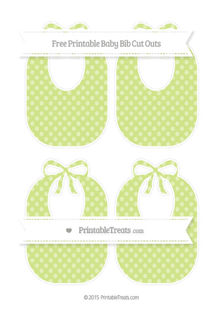 Free Pastel Lime Green Dotted Pattern Medium Baby Bib Cut Outs