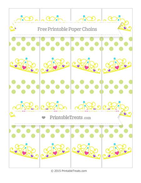 Free Pastel Lime Green Dotted Pattern Princess Tiara Paper Chains