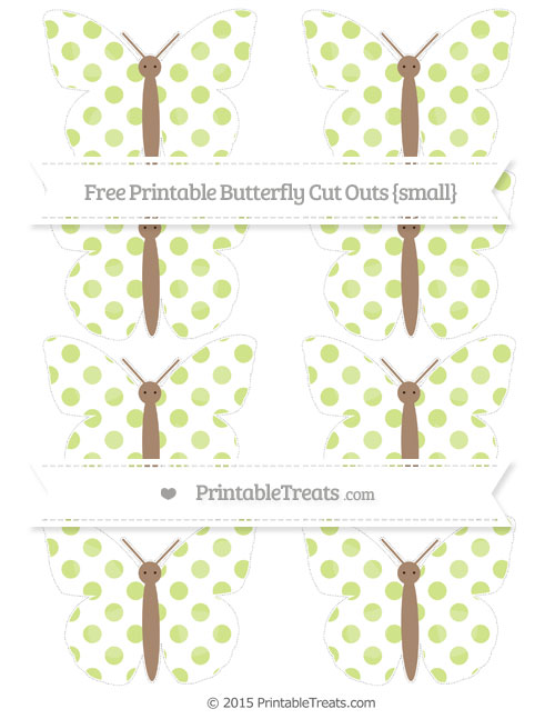 Free Pastel Lime Green Dotted Pattern Small Butterfly Cut Outs