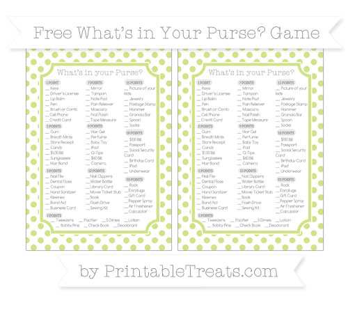Free Pastel Lime Green Dotted Pattern What's in Your Purse Baby Shower Game