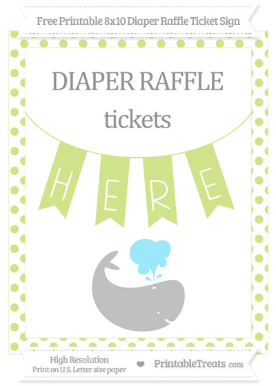 Free Pastel Lime Green Dotted Whale 8x10 Diaper Raffle Ticket Sign