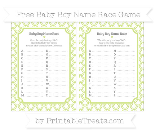 Free Pastel Lime Green Fish Scale Pattern Baby Boy Name Race Game