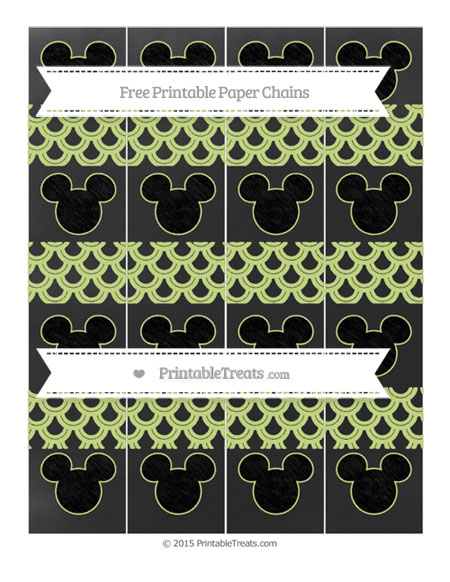 Free Pastel Lime Green Fish Scale Pattern Chalk Style Mickey Mouse Paper Chains