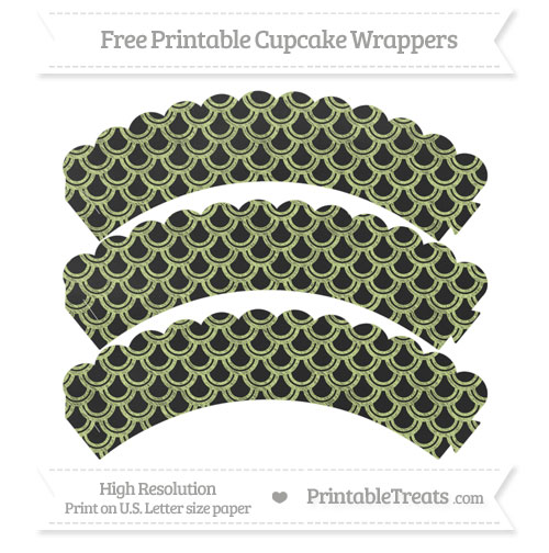Free Pastel Lime Green Fish Scale Pattern Chalk Style Scalloped Cupcake Wrappers