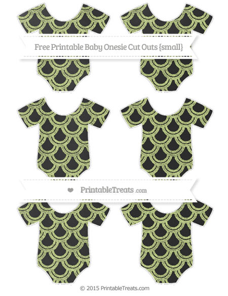 Free Pastel Lime Green Fish Scale Pattern Chalk Style Small Baby Onesie Cut Outs