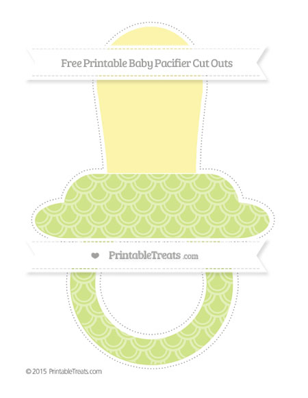 Free Pastel Lime Green Fish Scale Pattern Extra Large Baby Pacifier Cut Outs
