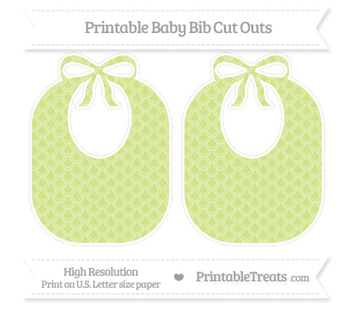 Free Pastel Lime Green Fish Scale Pattern Large Baby Bib Cut Outs