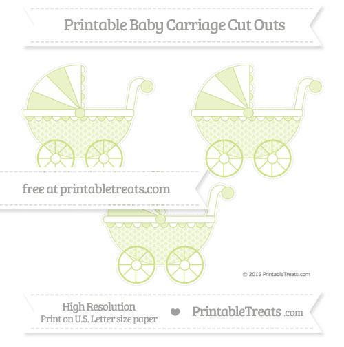 Free Pastel Lime Green Fish Scale Pattern Medium Baby Carriage Cut Outs