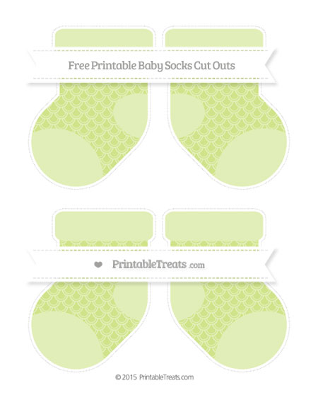 Free Pastel Lime Green Fish Scale Pattern Medium Baby Socks Cut Outs