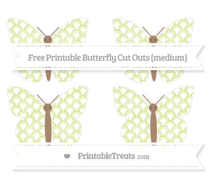 Free Pastel Lime Green Fish Scale Pattern Medium Butterfly Cut Outs