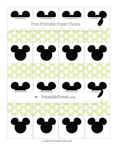 Free Pastel Lime Green Fish Scale Pattern Mickey Mouse Paper Chains