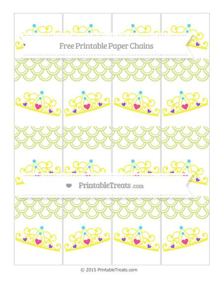 Free Pastel Lime Green Fish Scale Pattern Princess Tiara Paper Chains