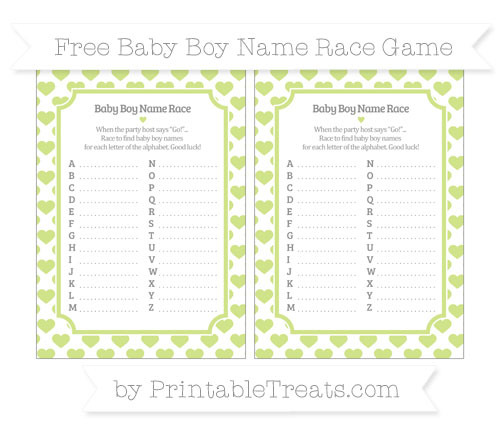 Free Pastel Lime Green Heart Pattern Baby Boy Name Race Game