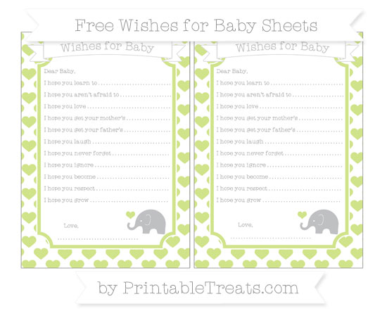 Free Pastel Lime Green Heart Pattern Baby Elephant Wishes for Baby Sheets