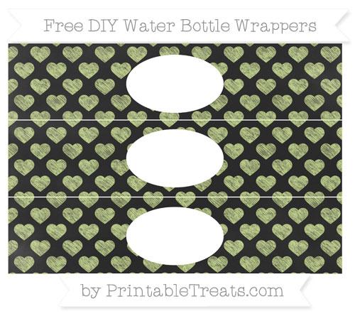 Free Pastel Lime Green Heart Pattern Chalk Style DIY Water Bottle Wrappers