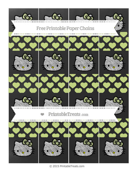 Free Pastel Lime Green Heart Pattern Chalk Style Hello Kitty Paper Chains