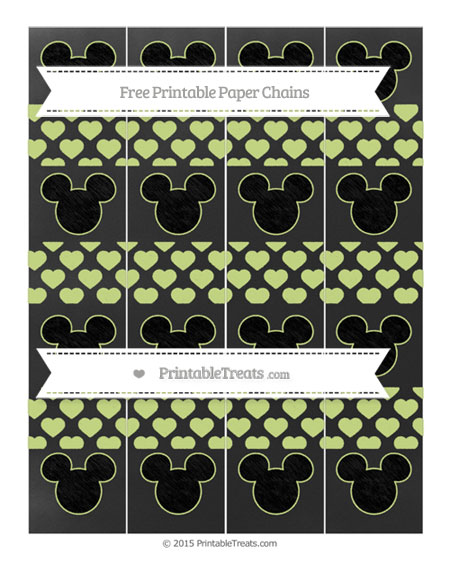 Free Pastel Lime Green Heart Pattern Chalk Style Mickey Mouse Paper Chains