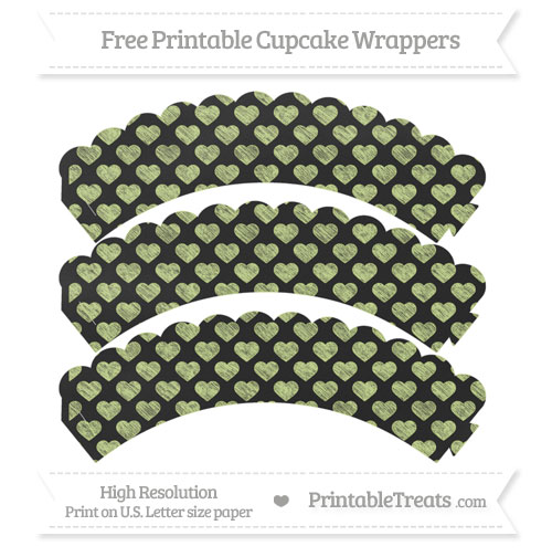 Free Pastel Lime Green Heart Pattern Chalk Style Scalloped Cupcake Wrappers