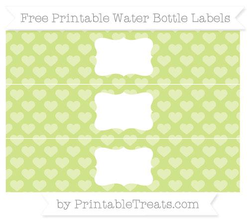 Free Pastel Lime Green Heart Pattern Water Bottle Labels