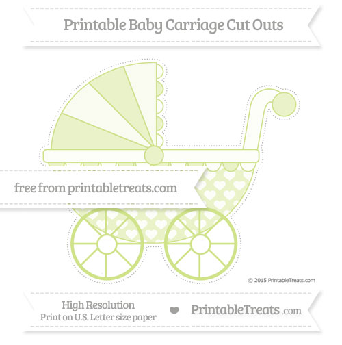 Free Pastel Lime Green Heart Pattern Extra Large Baby Carriage Cut Outs