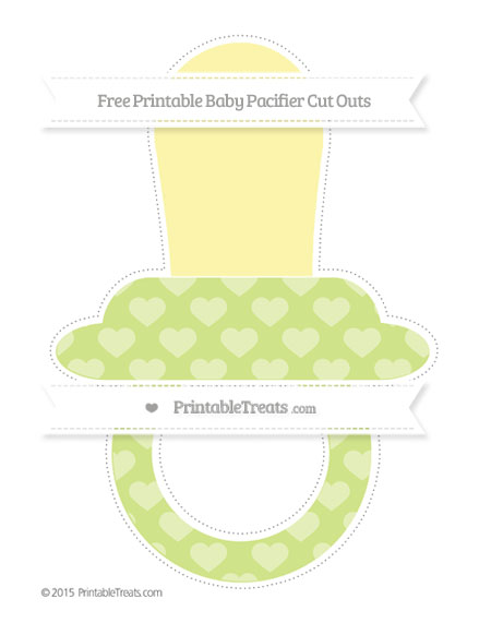 Free Pastel Lime Green Heart Pattern Extra Large Baby Pacifier Cut Outs