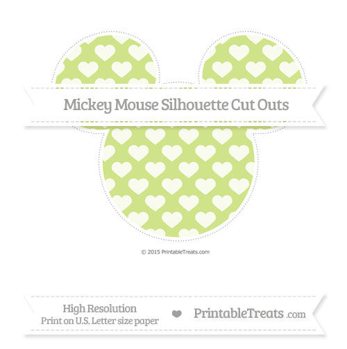 Free Pastel Lime Green Heart Pattern Extra Large Mickey Mouse Silhouette Cut Outs